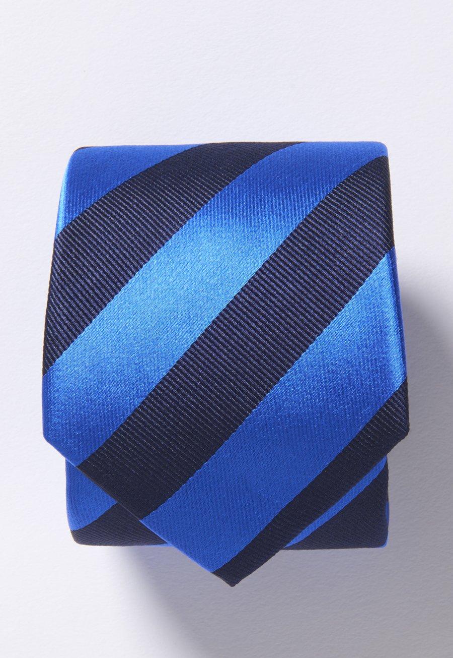 Navy And Royal Stripe 100% Silk Tie