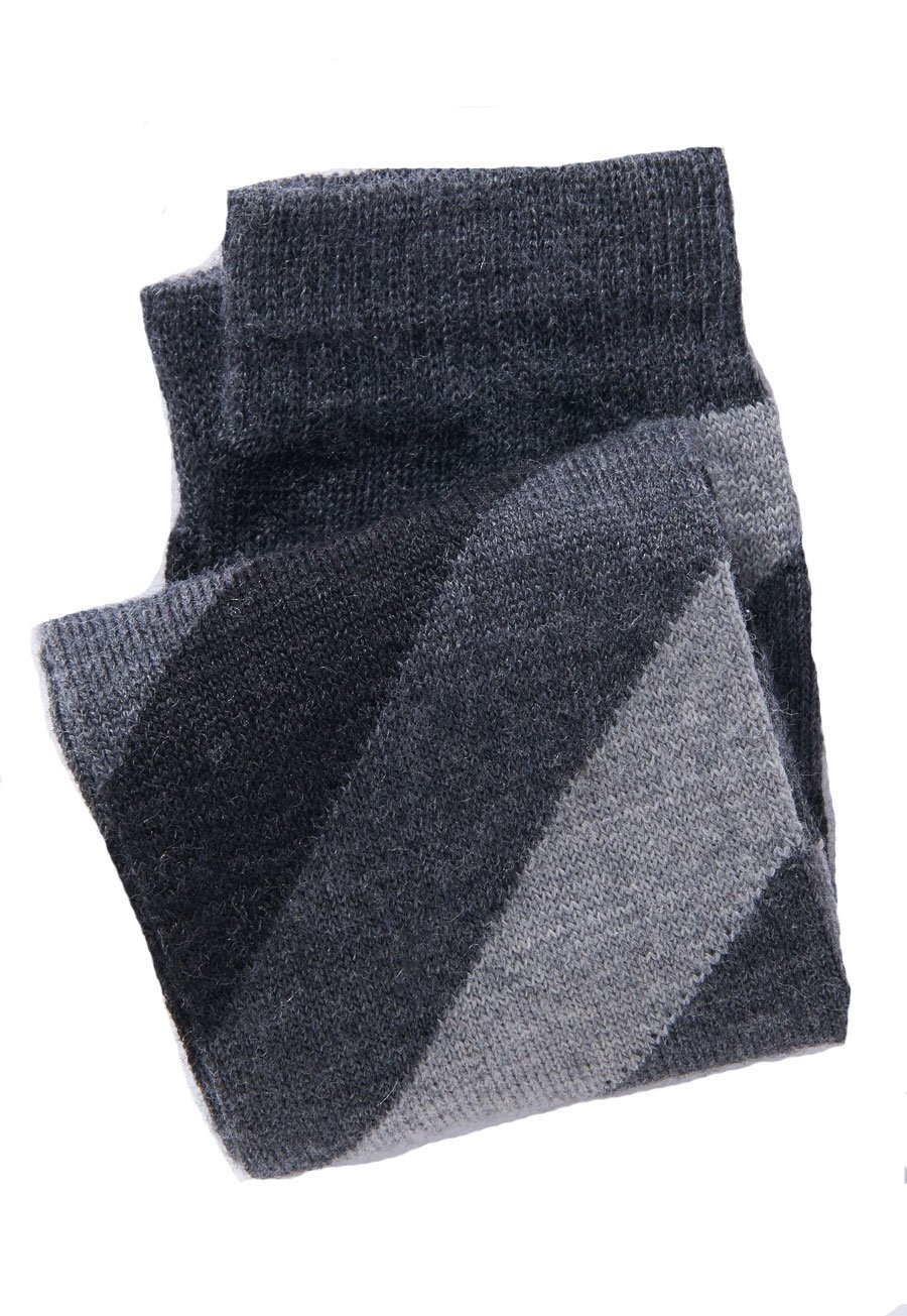 Black. Charcoal And Grey Stripe Short Sock