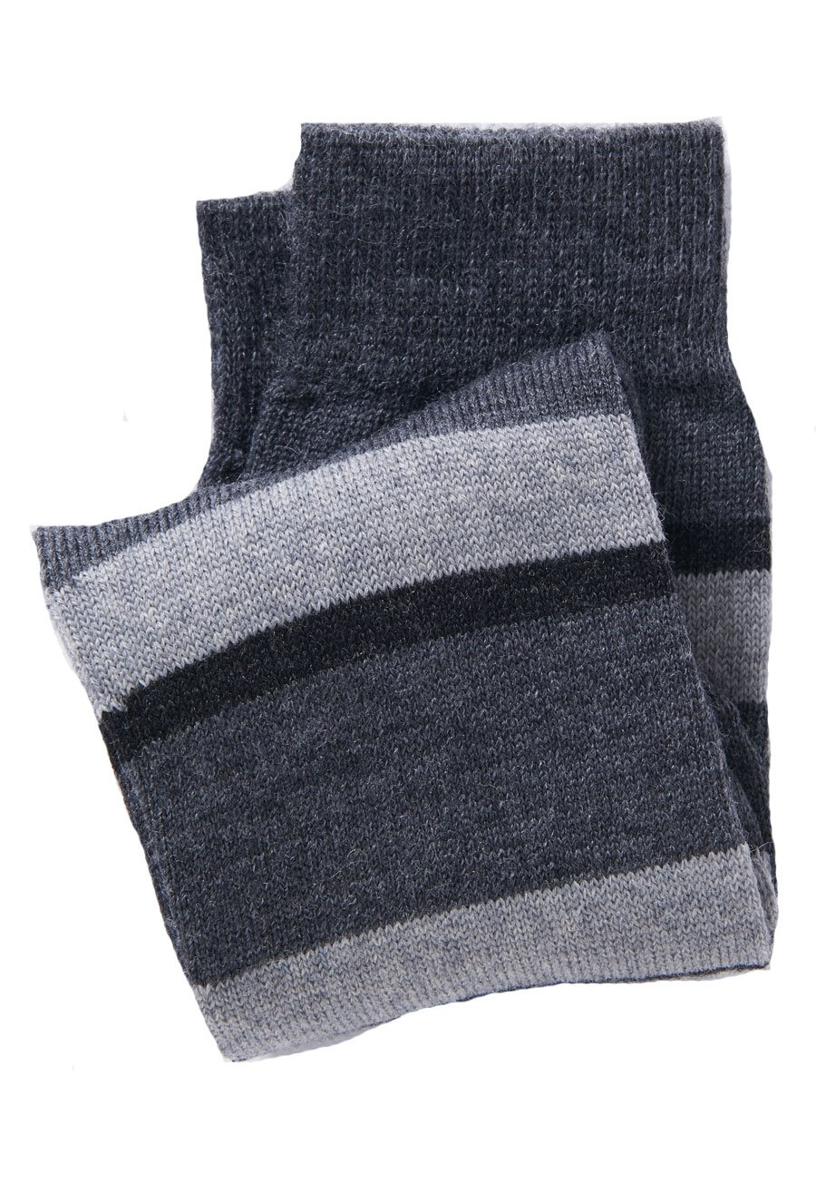 Black, Charcoal and Grey Hooped Short Sock