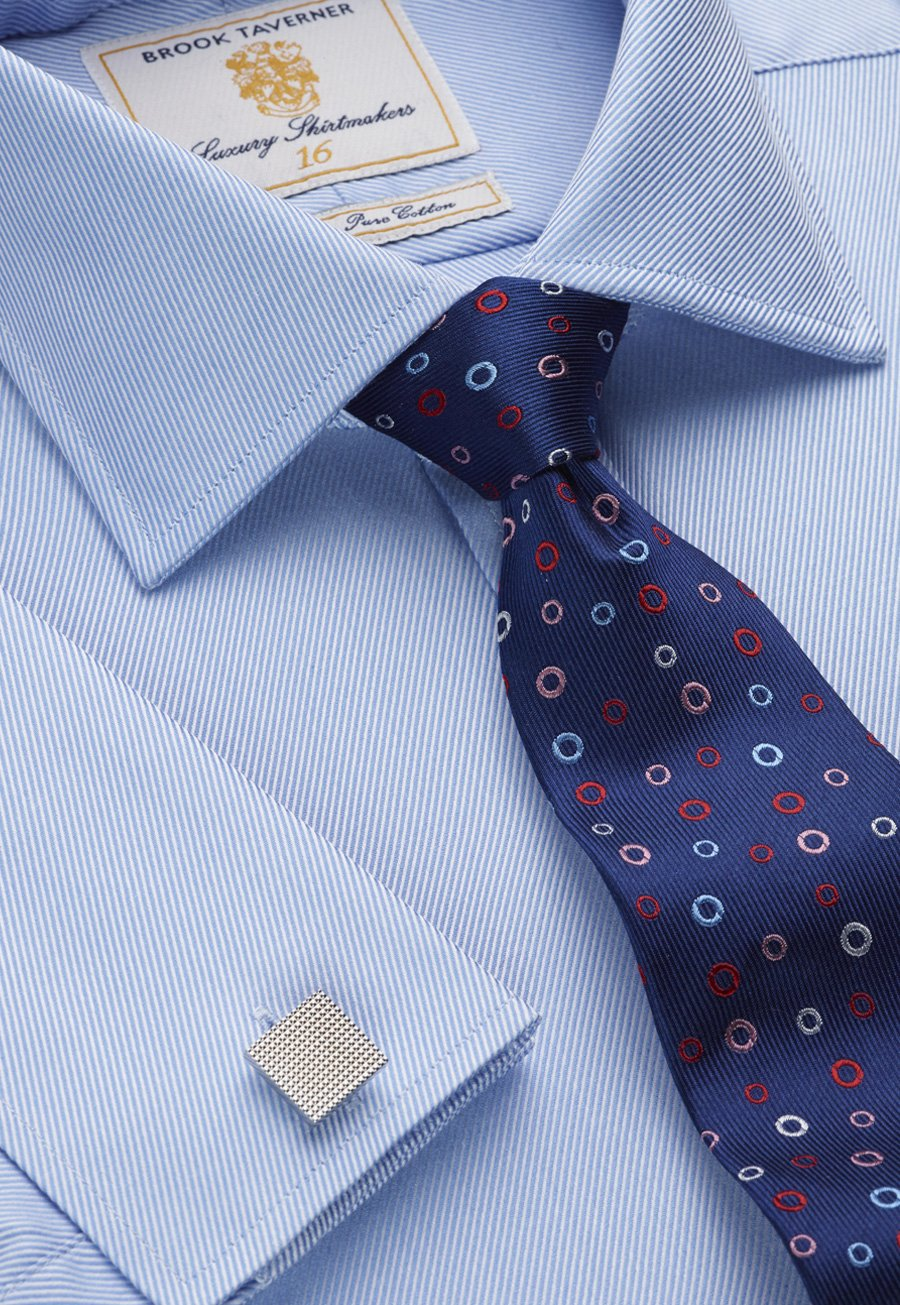 Image of Blue Royal Twill Double Cuff 100% Easycare Cotton Shirt
