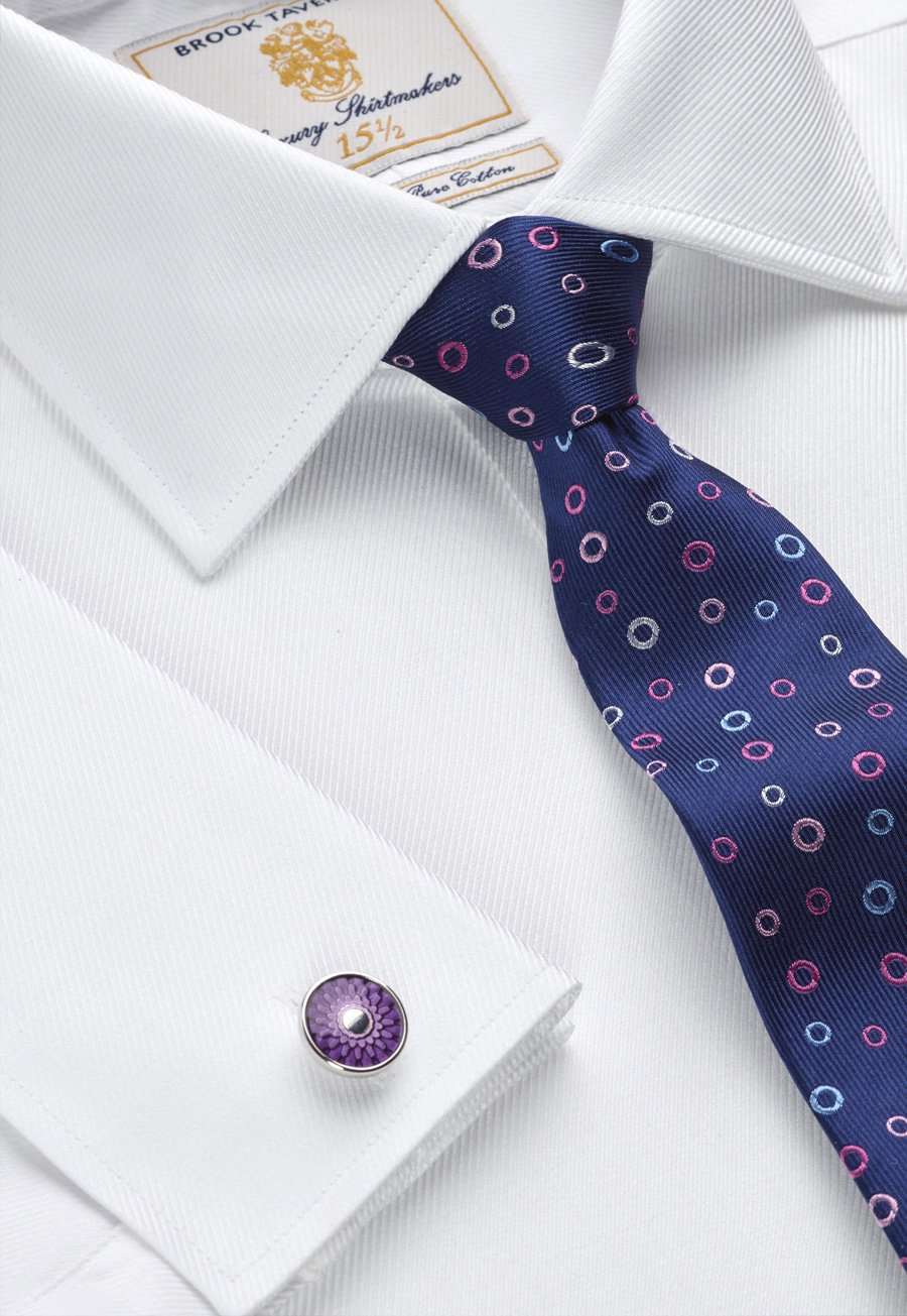 Image of White Royal Twill Double Cuff 100% Easycare Cotton Shirt
