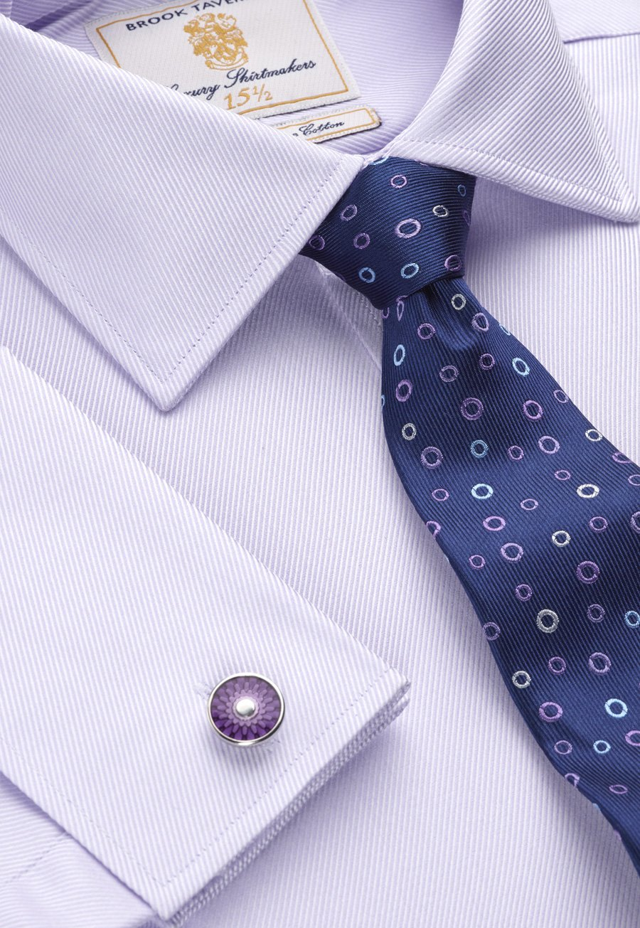 Image of Lilac Royal Twill Double Cuff 100% Easycare Cotton Shirt