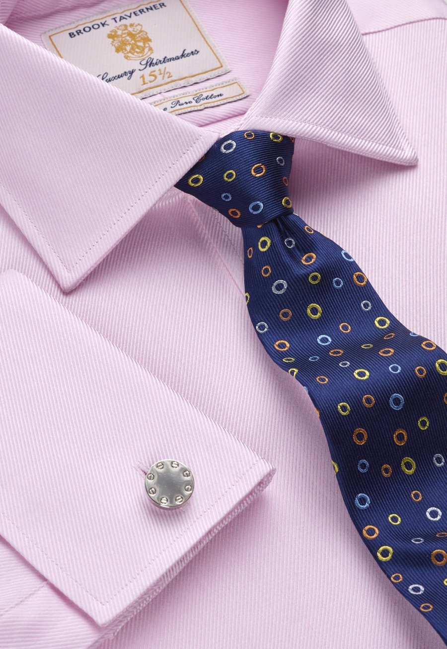 Image of Pink Royal Twill Double Cuff 100% Easycare Cotton Shirt
