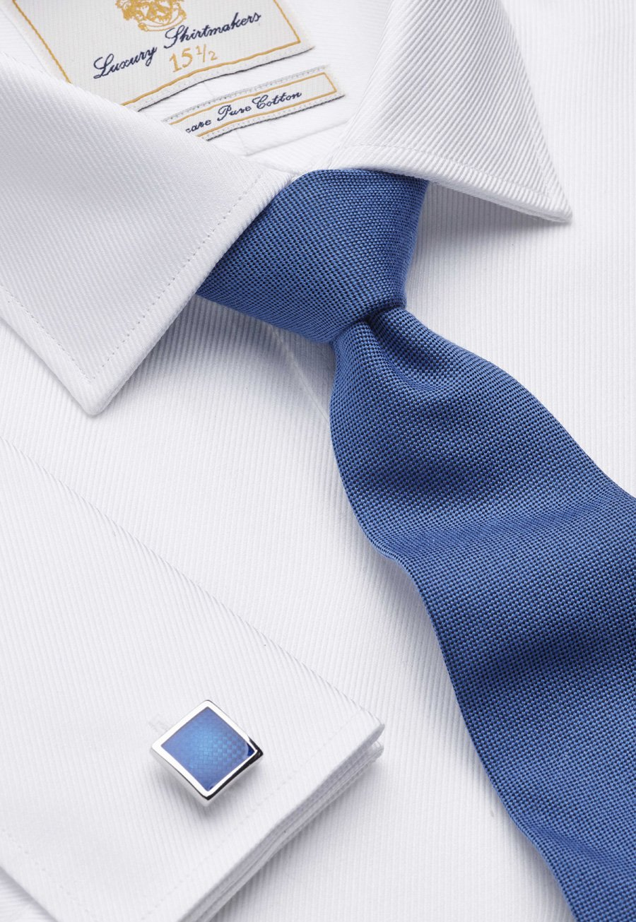 Image of White Royal Twill Tailored Fit Double Cuff 100% Easycare Cotton Shirt