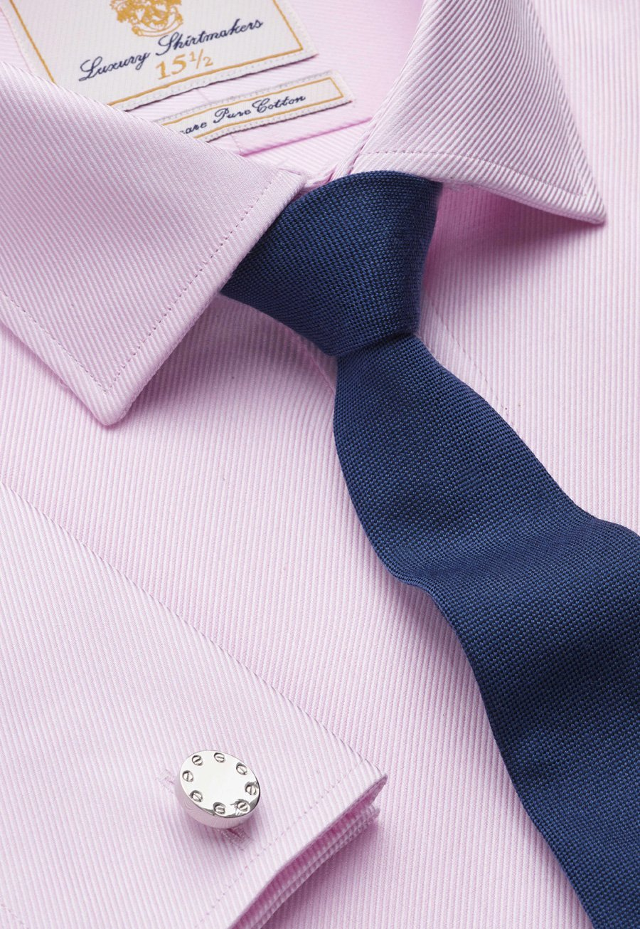 Image of Pink Royal Twill Tailored Fit Double Cuff 100% Easycare Cotton Shirt