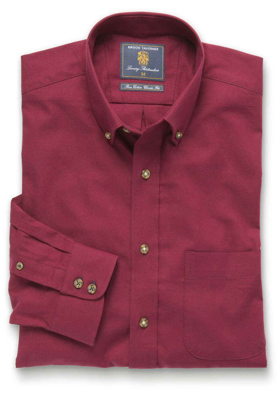 Plain Red Twill Brushed Cotton Button Down Collar Shirt