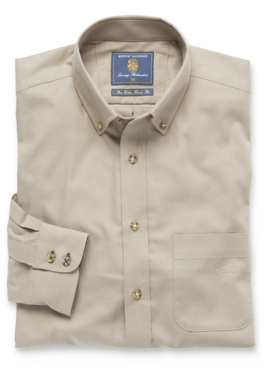 Plain Stone Twill Brushed Cotton Button Down Collar Shirt