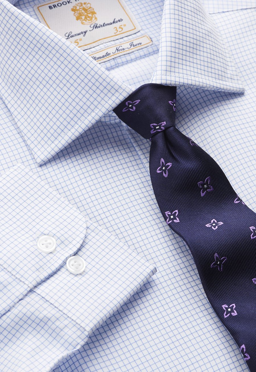 35 Sleeve Single Cuff Non-Iron Blue And White Micro Check 100% Cotton Shirt