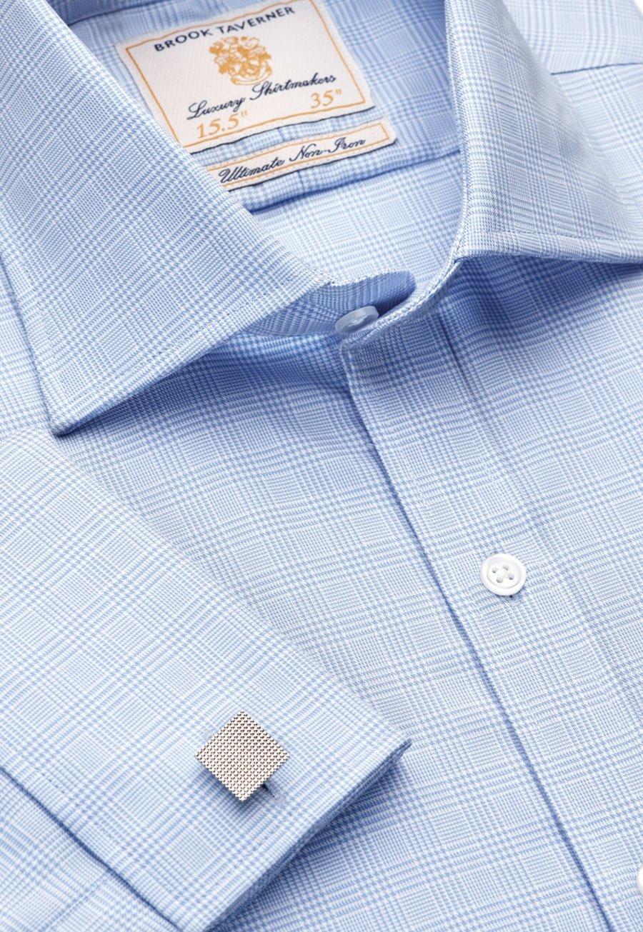 36.5 Sleeve Single Cuff Non-Iron Light Blue POW Check 100% Cotton Shirt