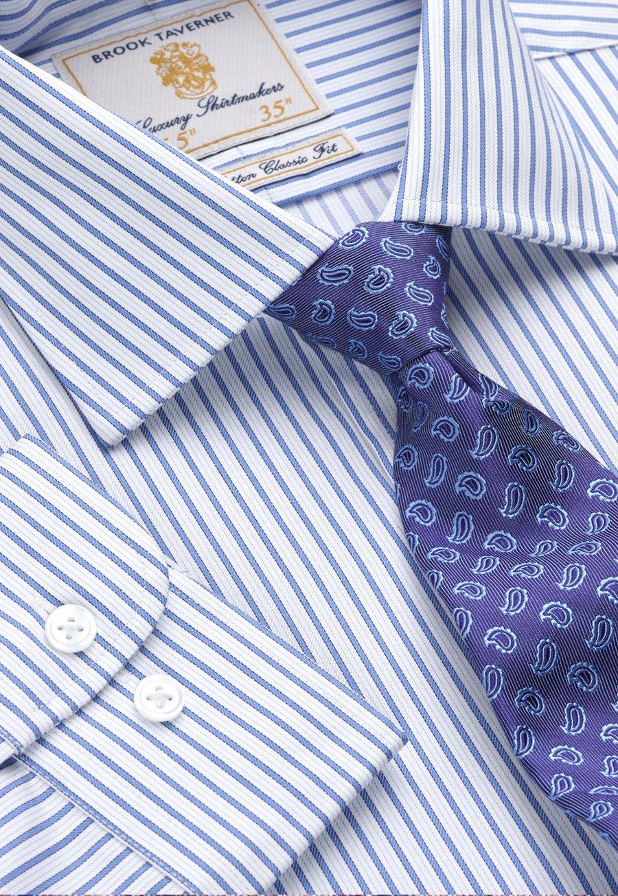 Image of Blue Twill Stripe 100% Easycare Cotton Single Cuff Shirt