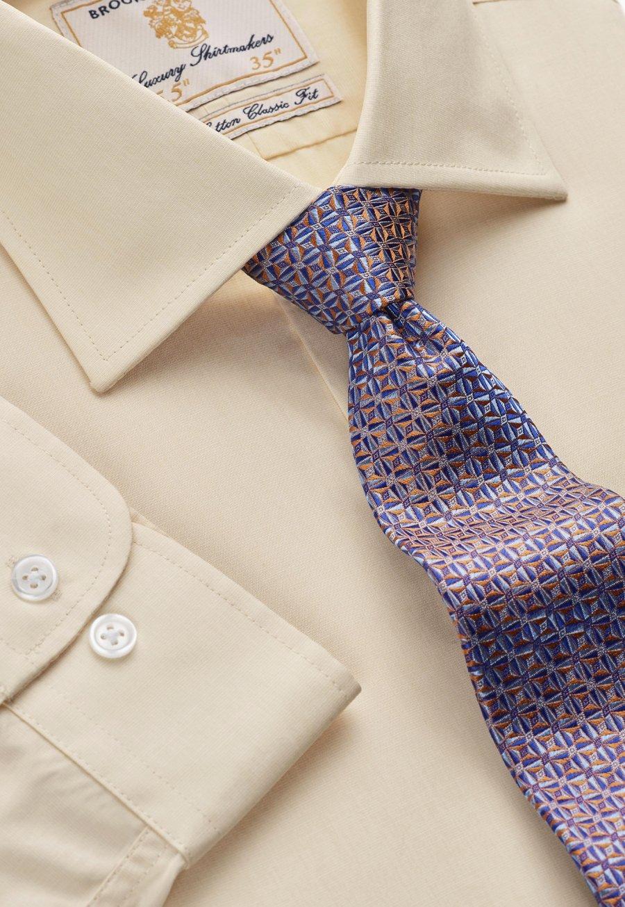35 Sleeve Lemon End on End 100% Easycare Cotton Single Cuff Shirt