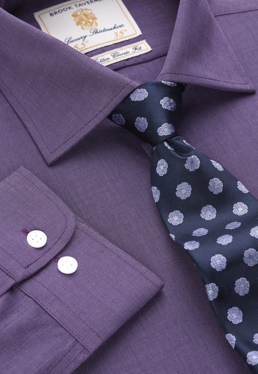 Image of Plum End on End 100% Easycare Cotton Single Cuff Shirt