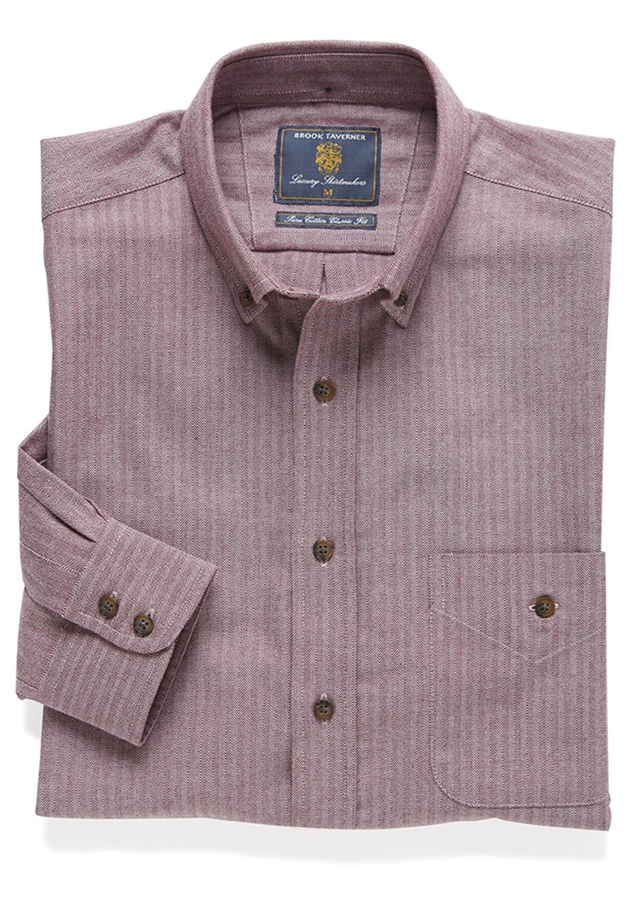 Berry Brushed Flannel Check Cotton Button Down Collar Shirt