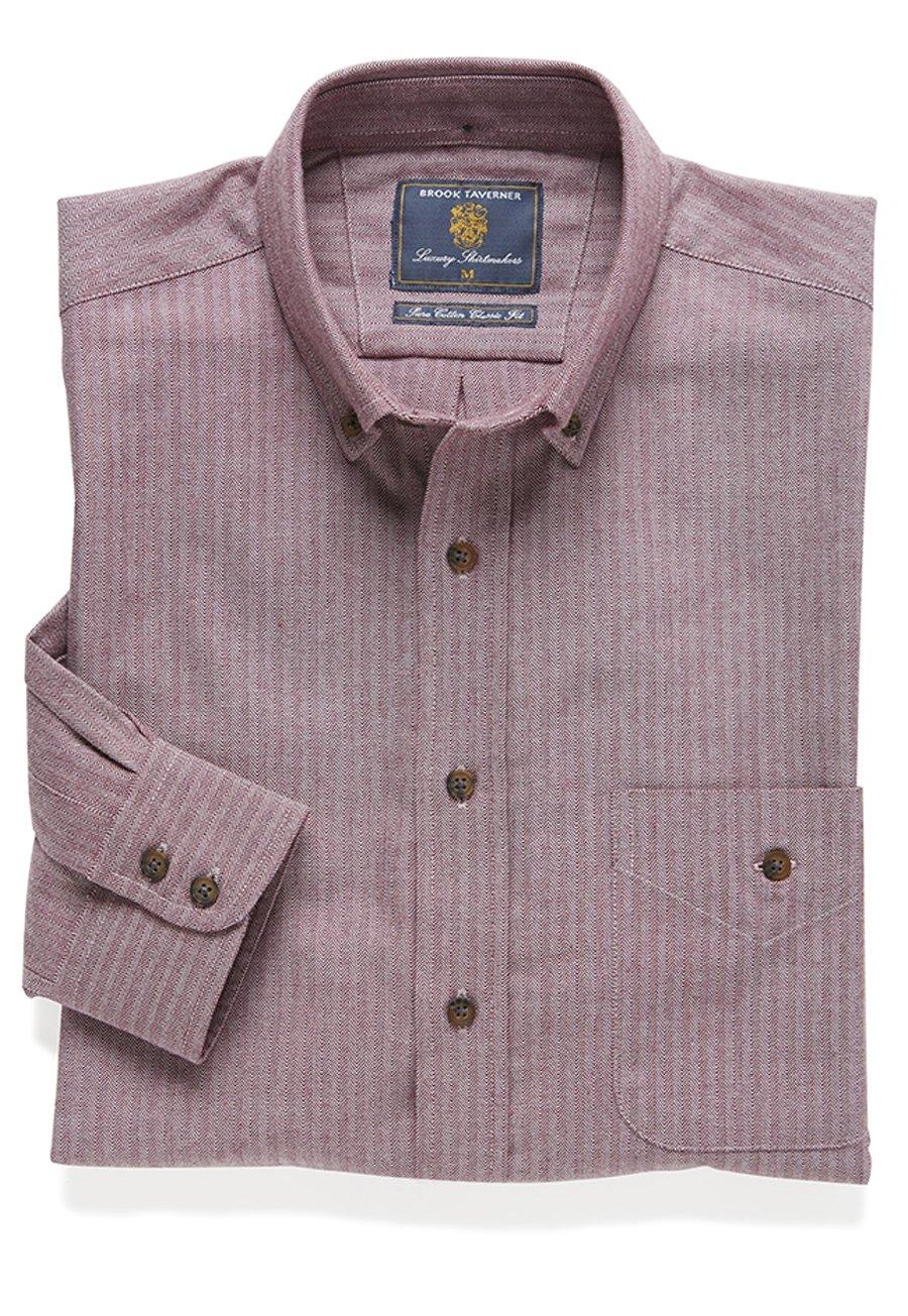 Berry Melange Brushed Herringbone Cotton Button Down Collar Shirt