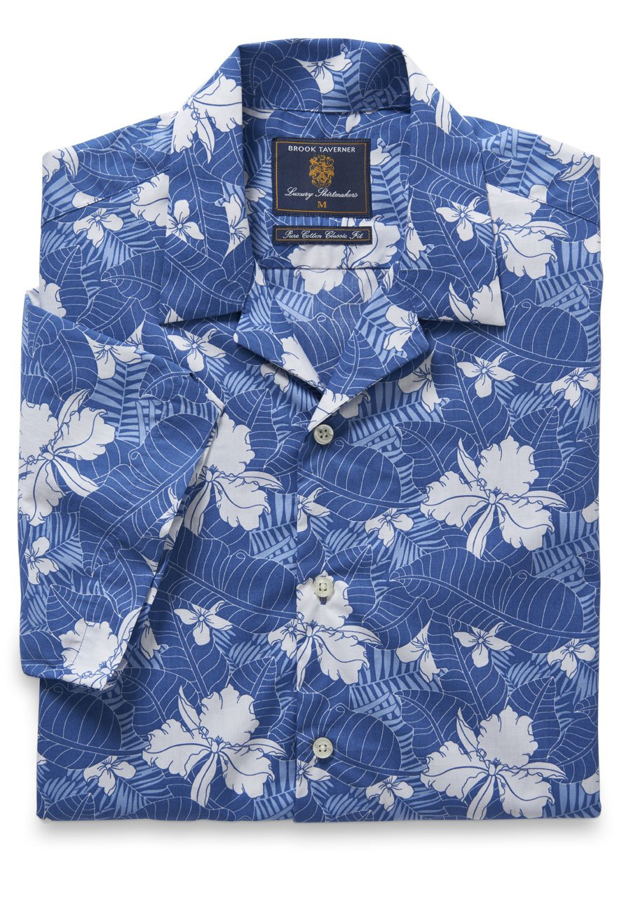 1940s Style Mens Shirts Short Sleeve Blue And White Flower And Leaf Print Shirt £60.00 AT vintagedancer.com
