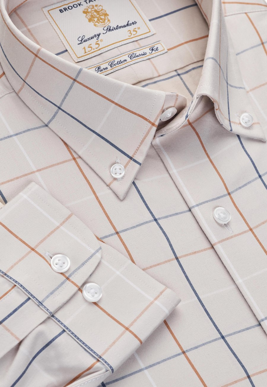 Short, Regular And Long Sleeve Stone With Navy, White And Paprika Check Single Cuff Shirt