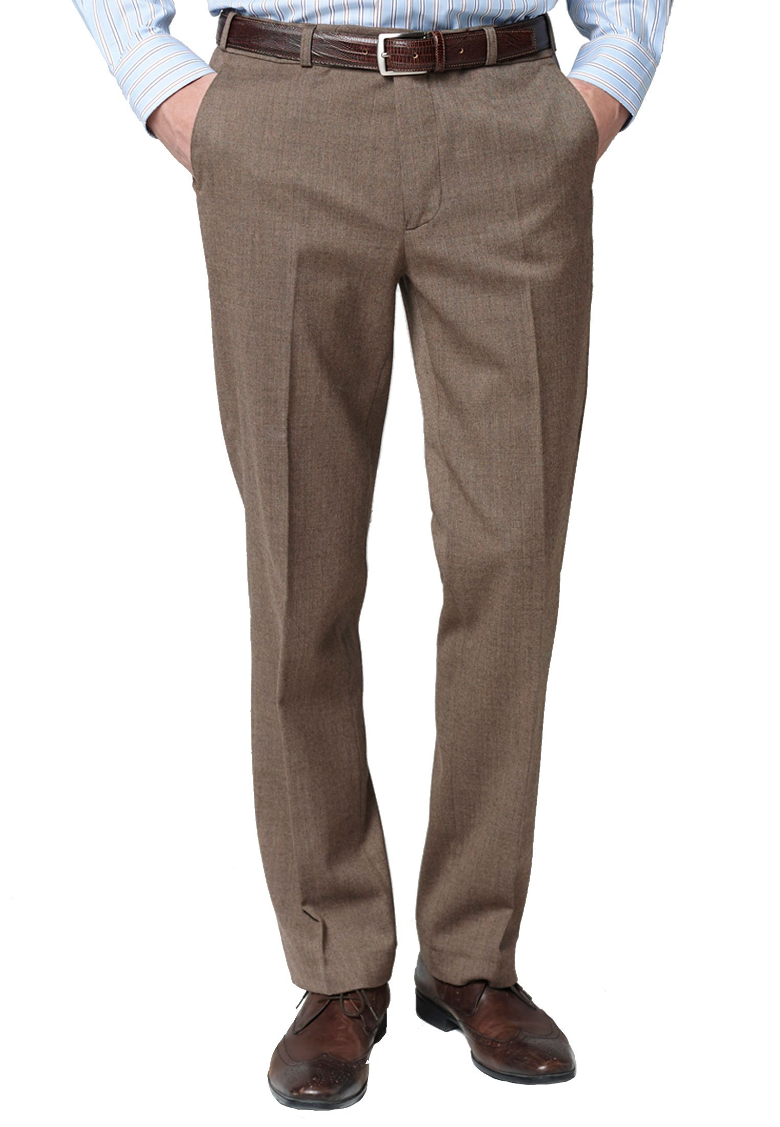 Caramel Olney Classic Fit Flannel Trousers