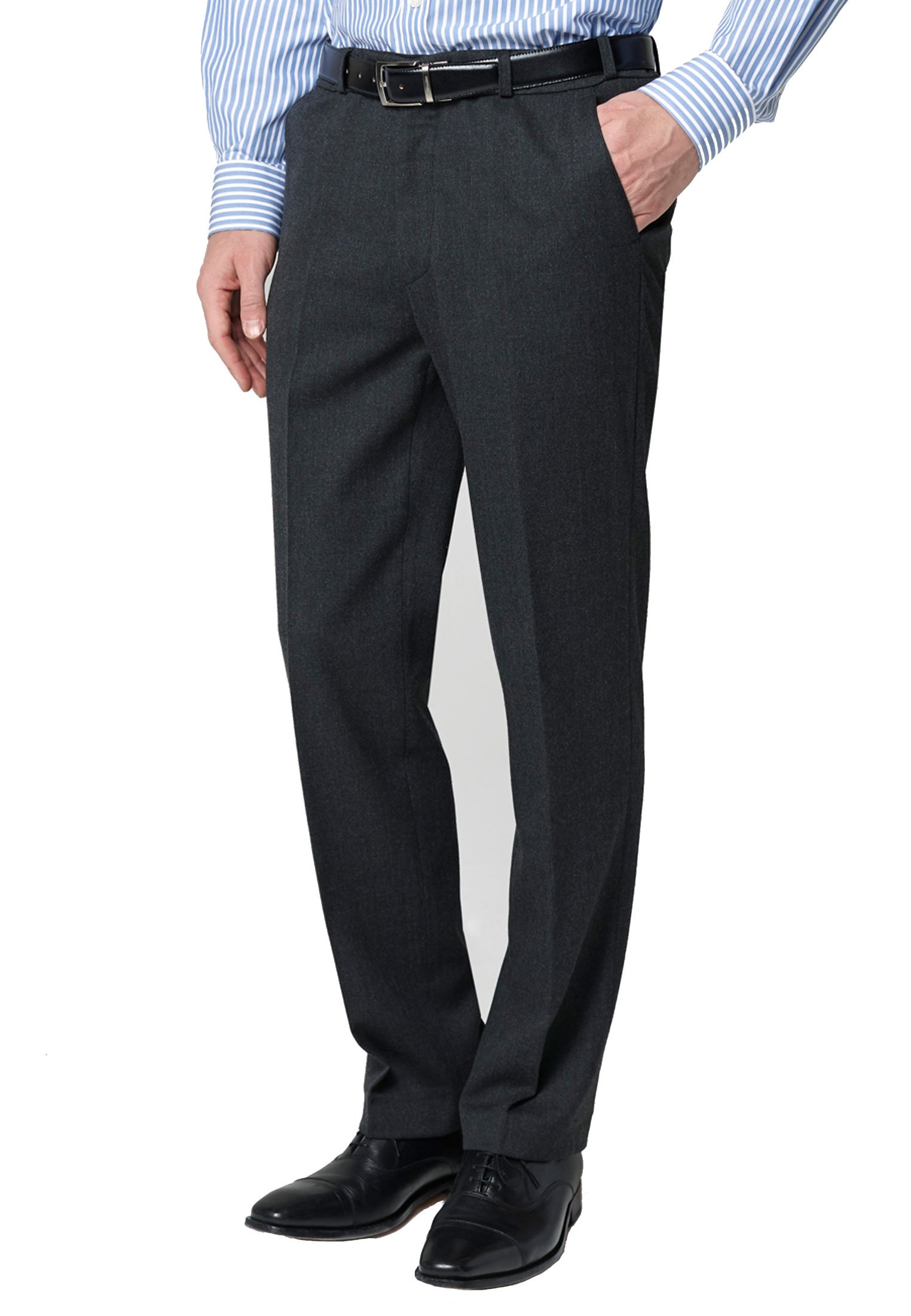 Charcoal Olney Classic Fit Flannel Trousers
