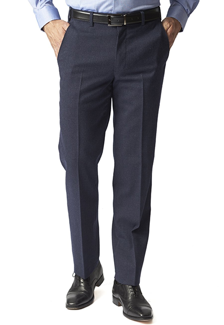 Image of Airforce Blue Olney Classic Fit Flannel Trousers
