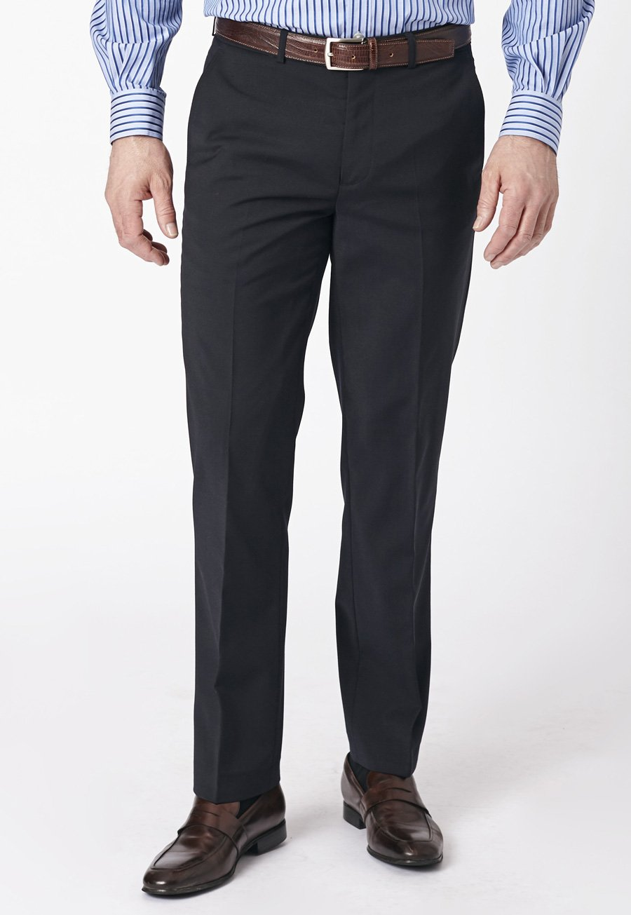 Image of Navy Duxford Crease Resistant Washable Travel Trousers