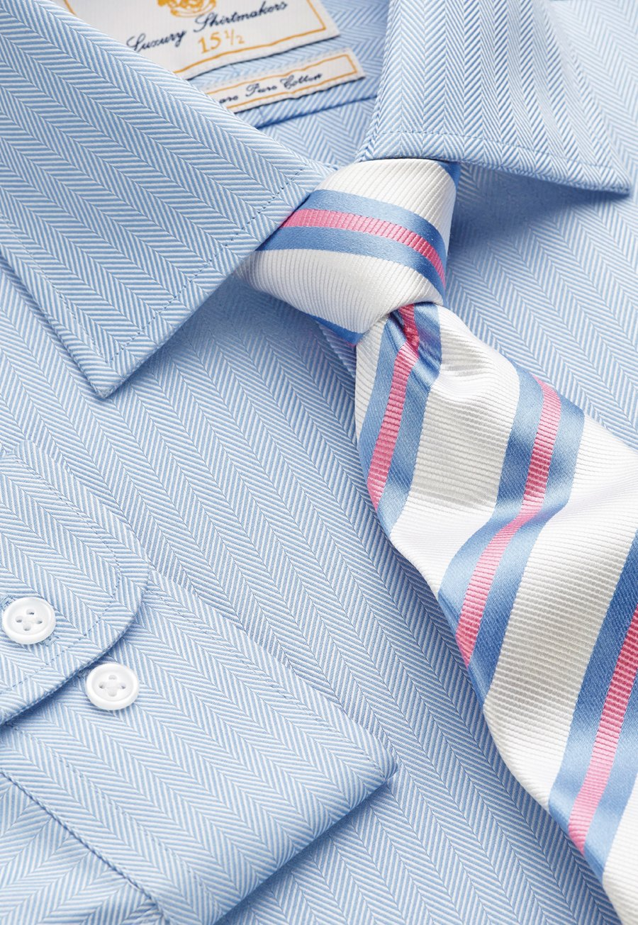"Image of Blue Herringbone 100% Easycare Cotton 36.5"" Single Cuff Shirt"