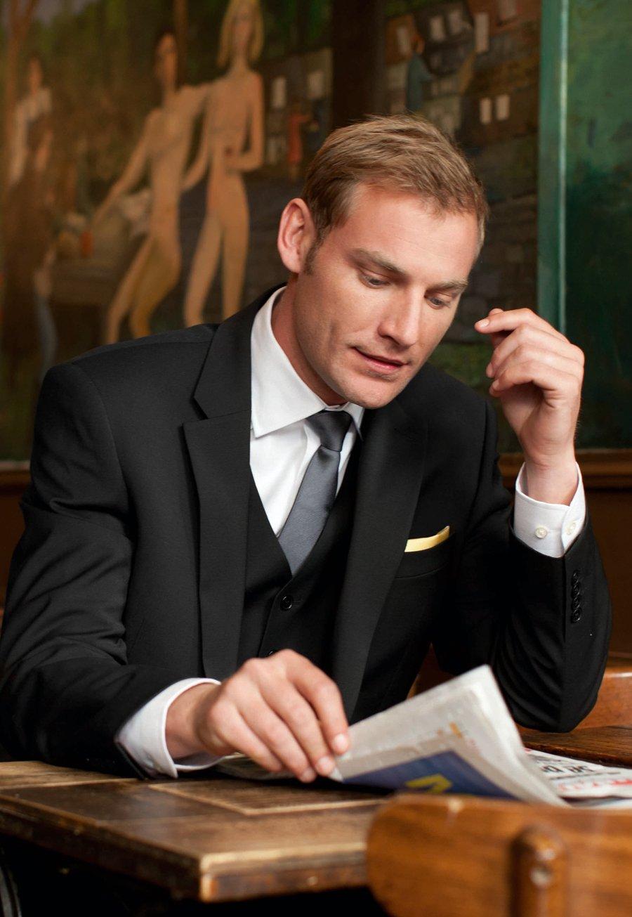 Men's Clothing Avalino Black Washable Crease Resistant 3 Pcs Travel Suit