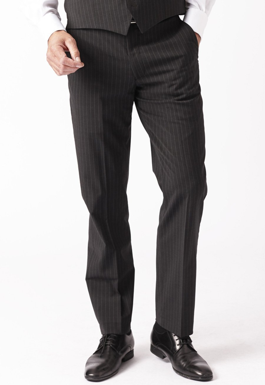 Image of Avalino Charcoal Stripe Suit Trousers