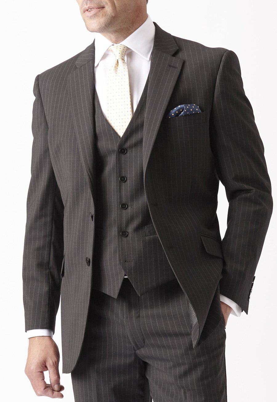 Image of Avalino Charcoal Pinstripe Suit Jacket