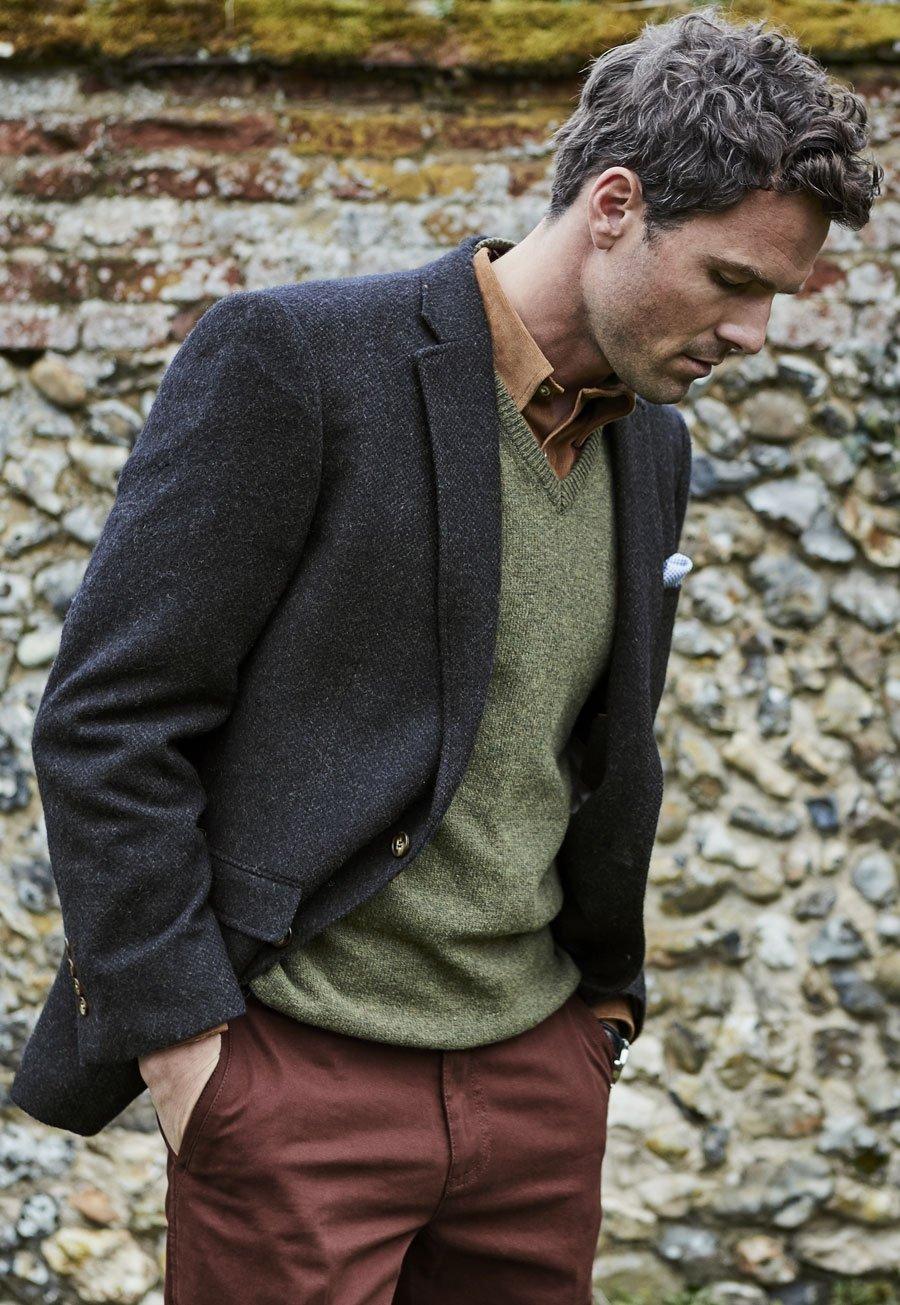 Avon Navy Melange Classic Fit Jacket