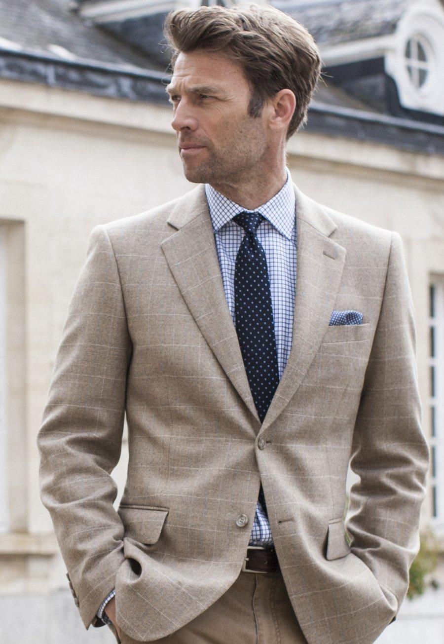 Image of Camberley Oatmeal 100% Wool Check Jacket
