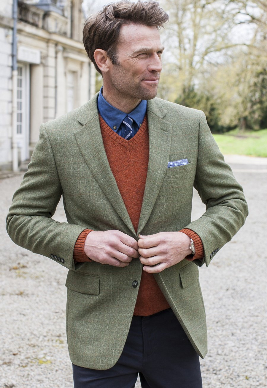 Image of Camberley Olive 100% Wool Check Jacket