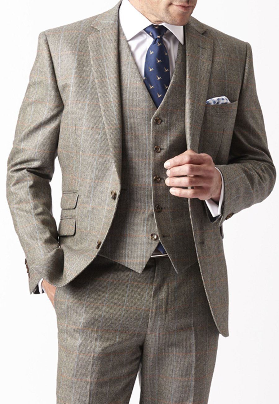 Image of Chivenor Three Piece Check Suit Jacket