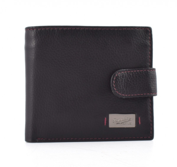 Black and Bordeaux Leather RFID Wallet