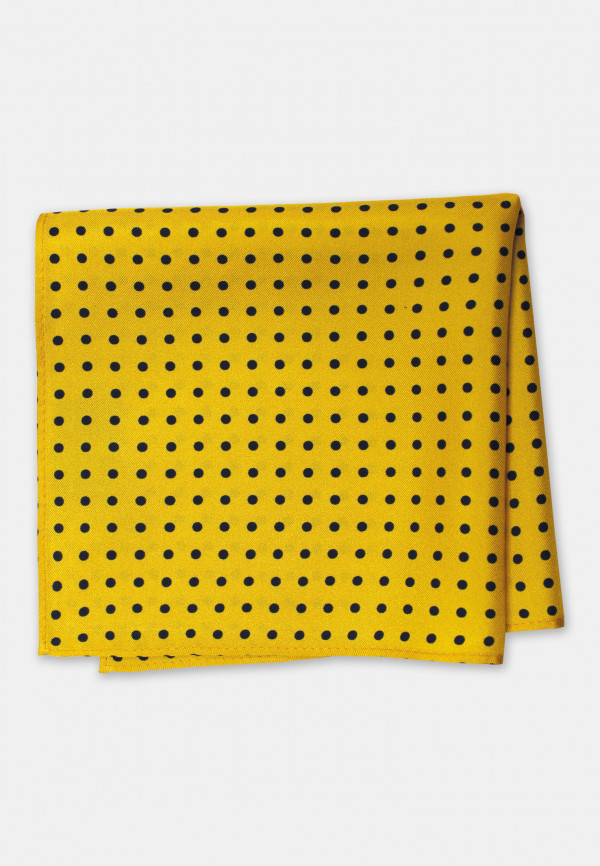 Yellow with Navy Dot 100% Silk Pocket Square