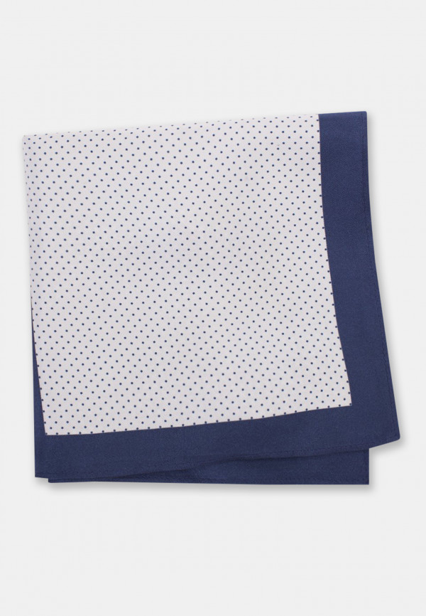 Navy Pattern 100% Silk Pocket Square