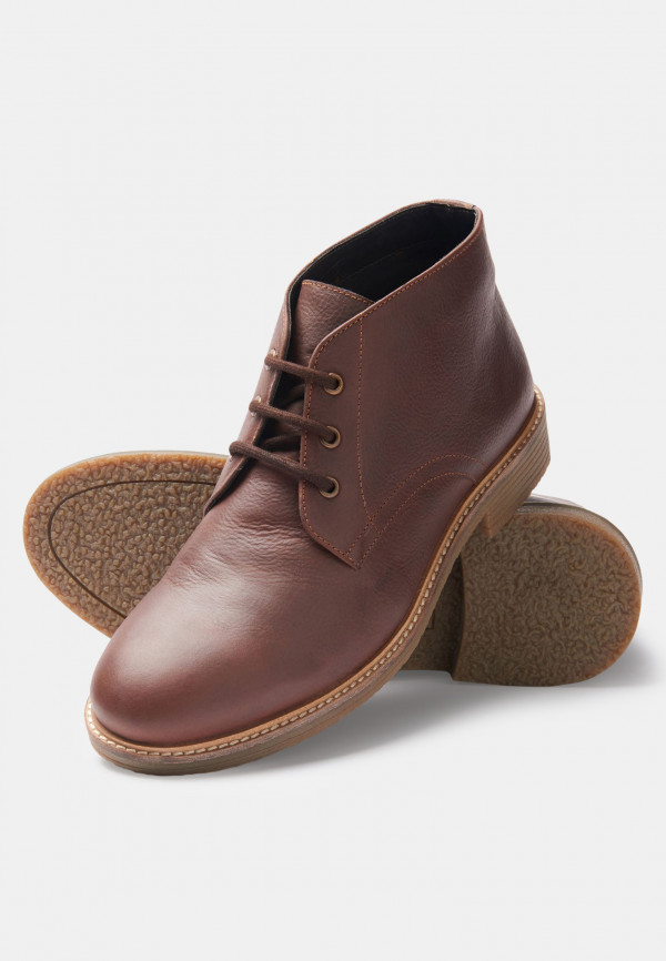 Edgar Brown Leather Chukka Boot With Rubber Sole
