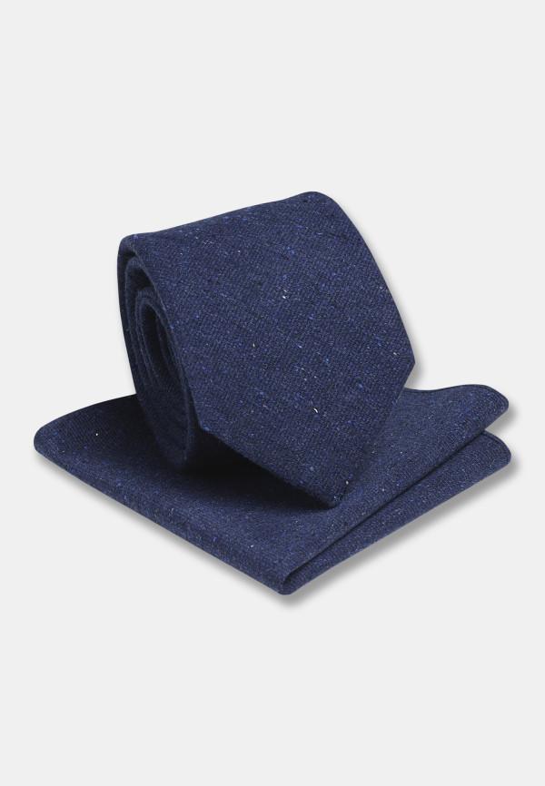 Plain Blue Hanky And Tie Set