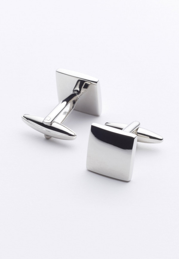 Plain Square Chrome Cufflinks