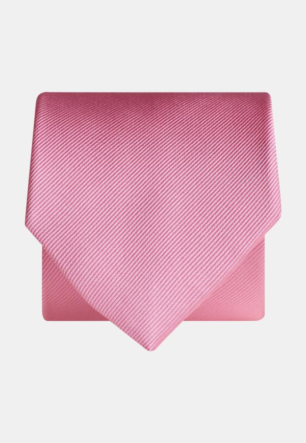 Plain Pink Twill 100% Silk Tie