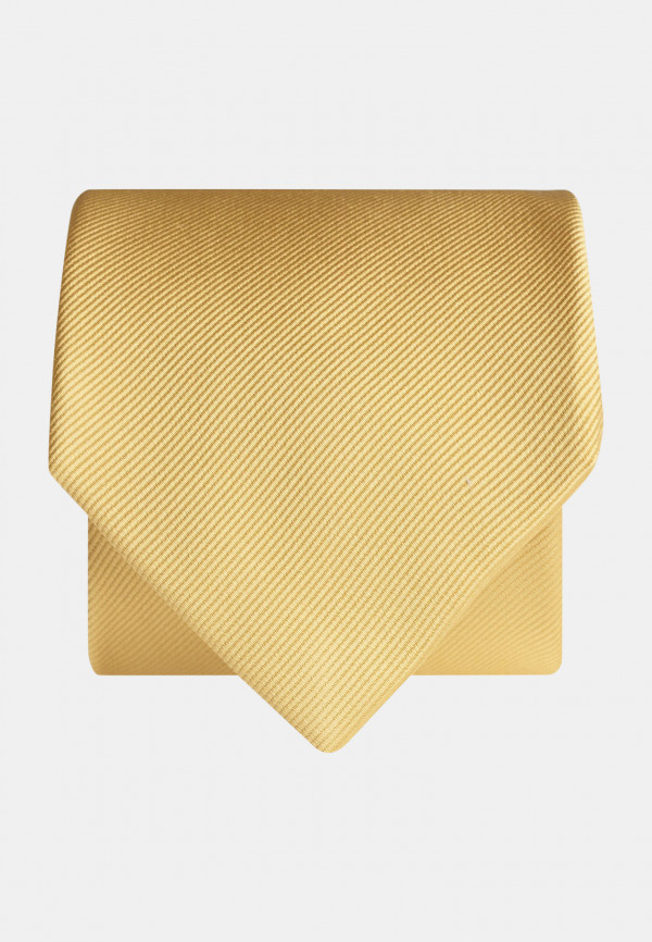 Plain Yellow Twill 100% Silk Tie