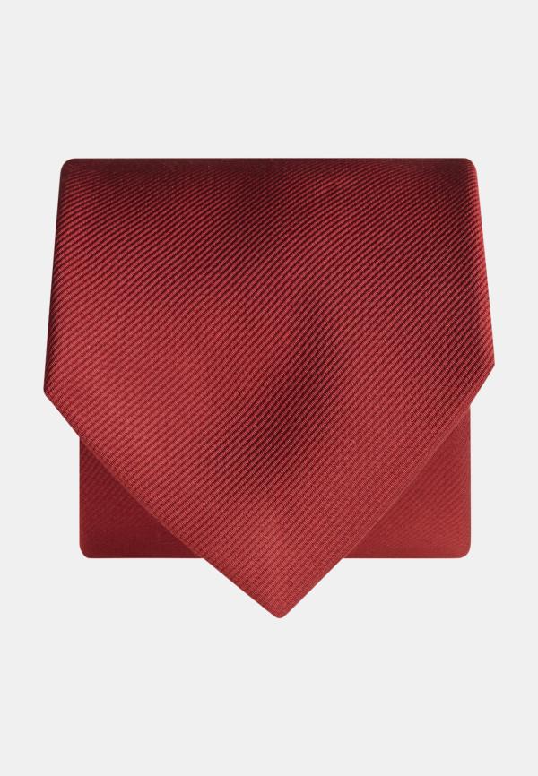 Plain Red Twill 100% Silk Tie