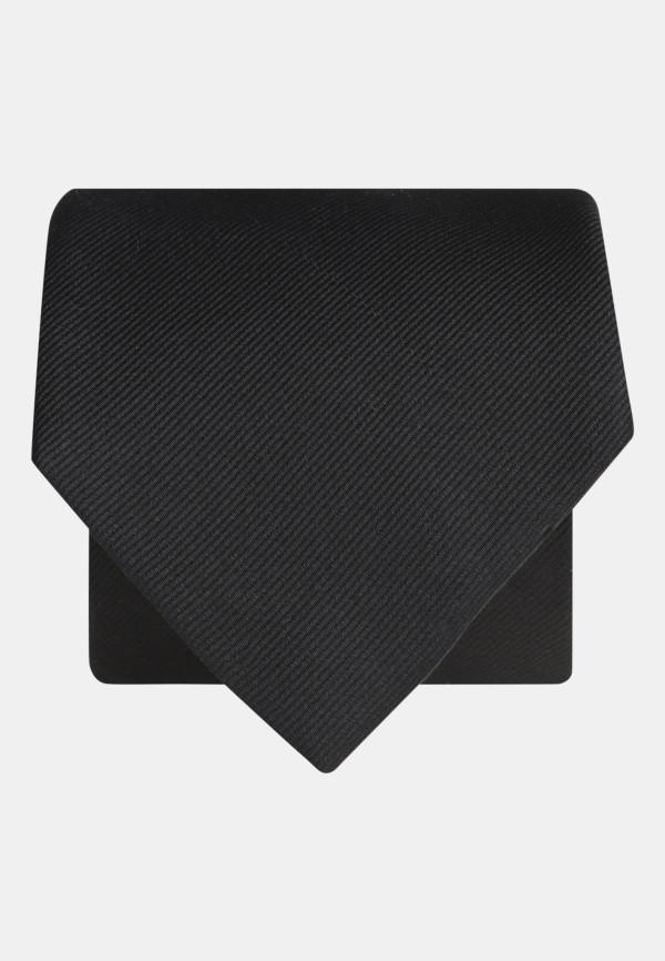 Plain Black Twill 100% Silk Tie