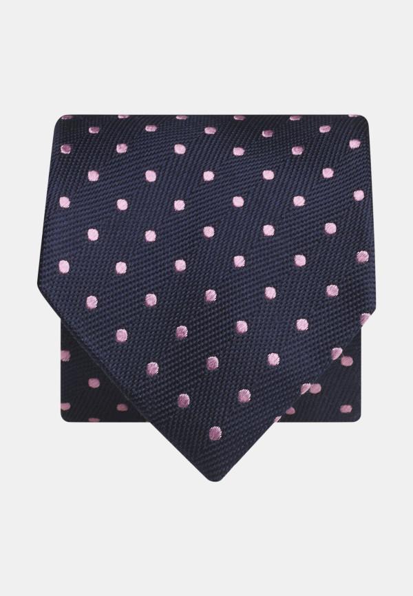 Navy With Pink Spot 100% Silk Tie