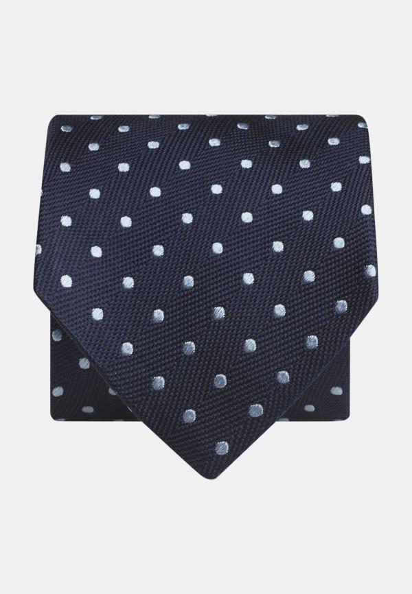 Navy With Sky Spot 100% Silk Tie
