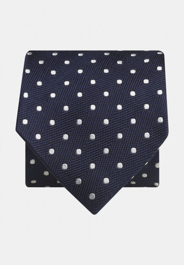 Navy With Silver Spot 100% Silk Tie