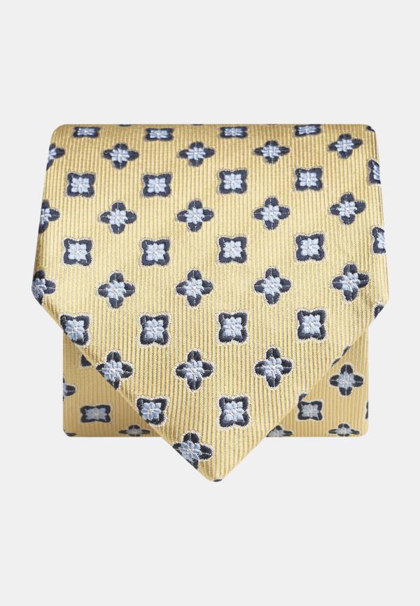 Yellow With Blue Flower 100% Silk Tie