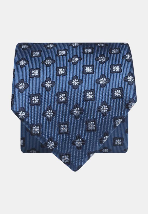 Blue With Navy Flower 100% Silk Tie