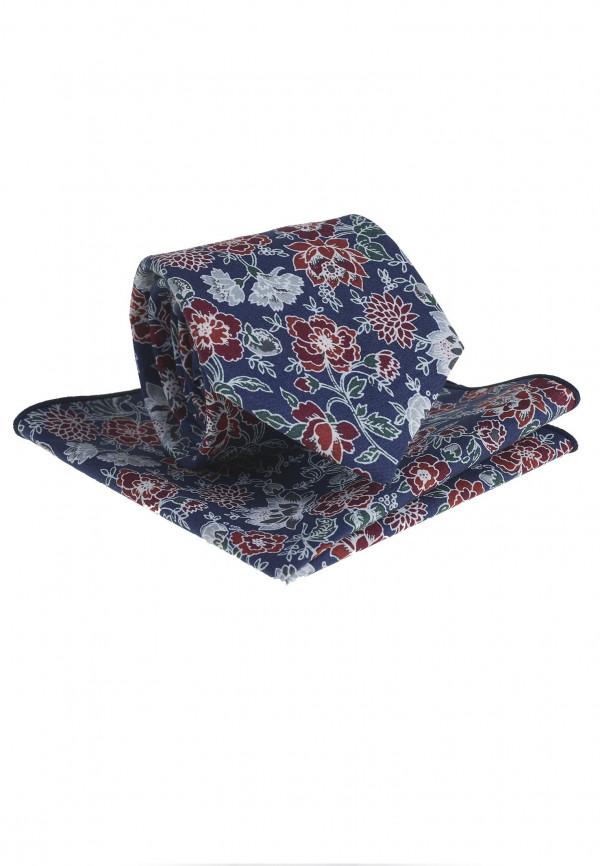 Navy And Red Floral Pattern Tie & Hanky