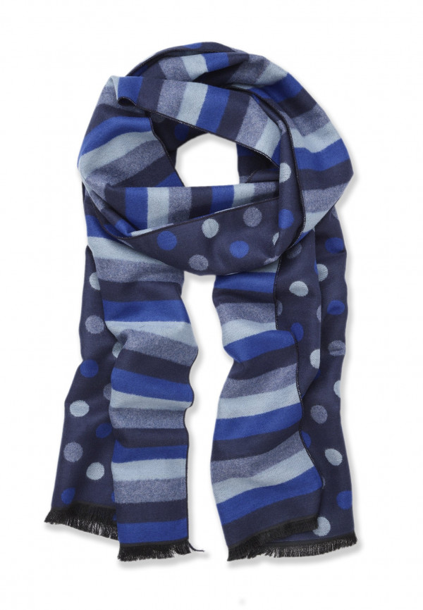 Blue Stripe and Dotted Lightweight Scarf