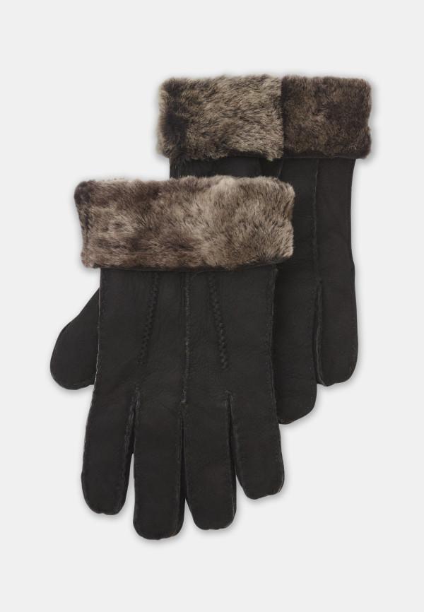 Black Sheepskin Glove with Fur Cuff